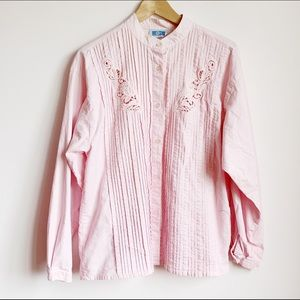 pale pink 80s pleated mandarin collar buttonup